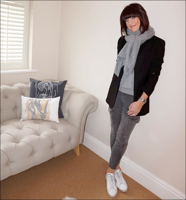 My Midlife Fashion, Zara grey cashmere shawl, zara oversized wool blazer, zara combat military trousers, grey cashmere sweatshirt, golden goose superstar leather trainers
