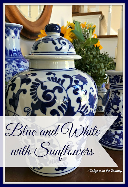 Blue and White with Sunflowers - displaying my blue and white collection in a whole new way.