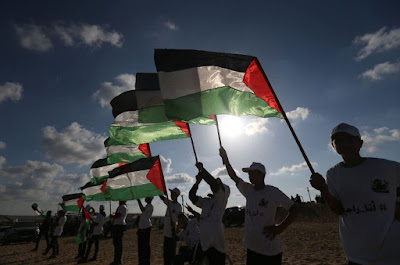 The Palestinian protesters at the Great March of Return
