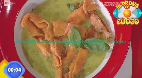 Caramelle rosse alla ricotta e salame con crema di friggitelli ricetta Marretti da Prova del Cuoco