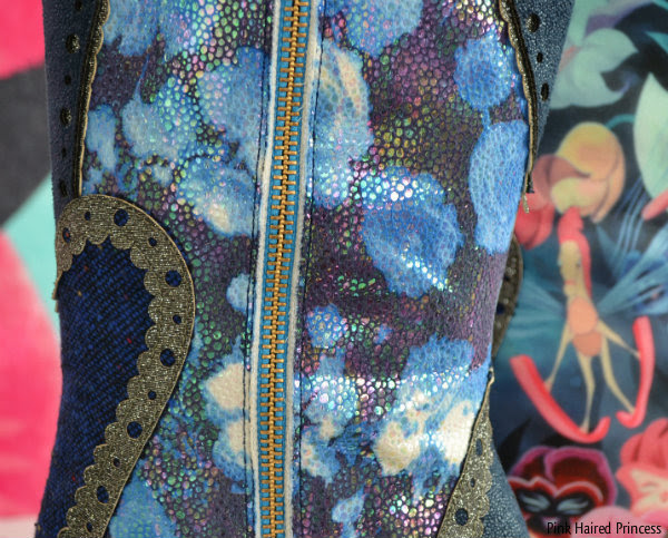 inner side of shimmering fabric and zip on boot