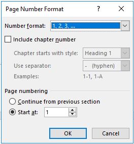 kotak dialog Page Number Format