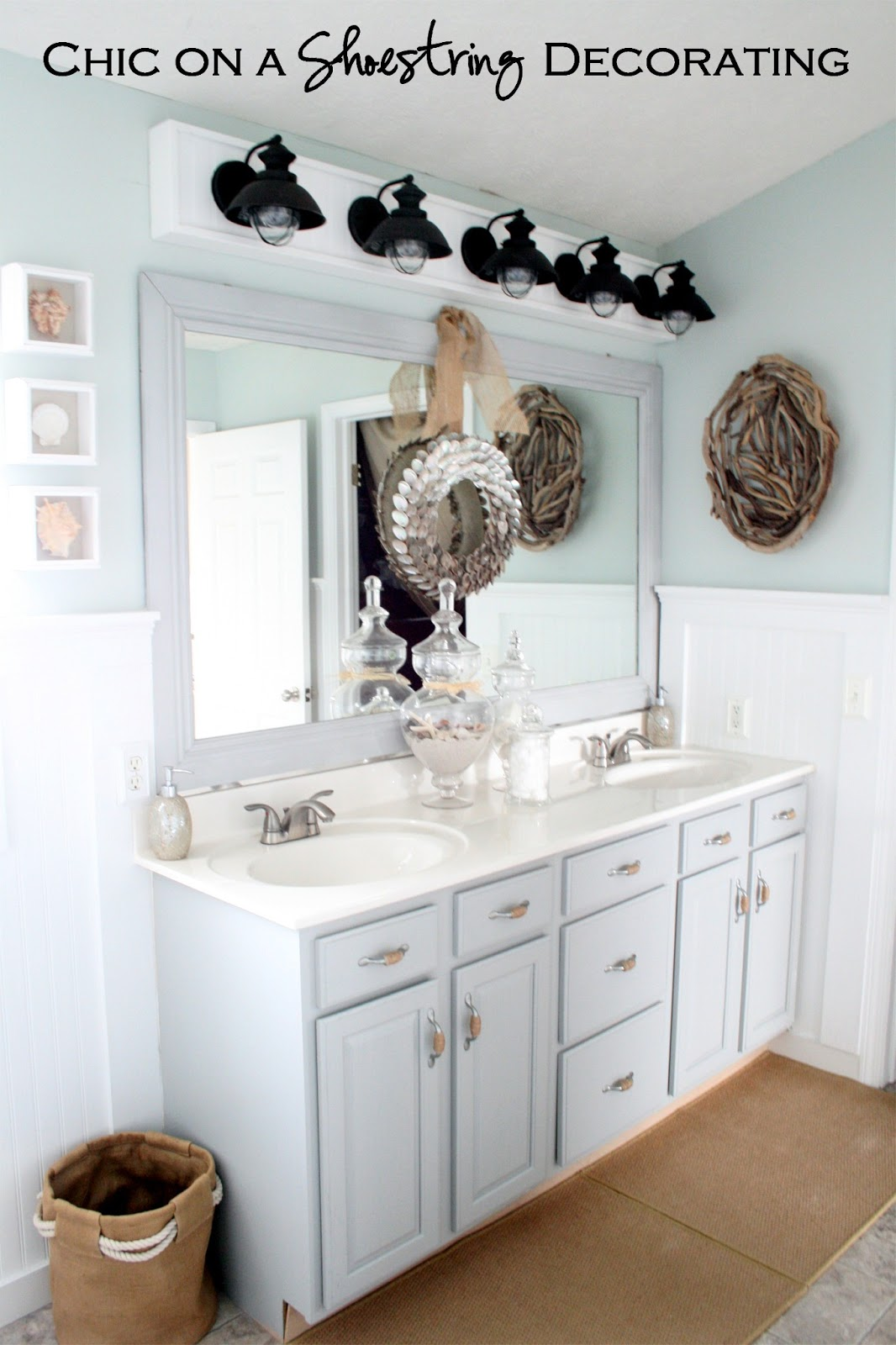 Chic on a Shoestring Decorating: How to Build a Bathroom Light Fixture