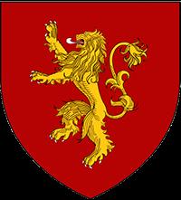 Escudo Lannister: León amarillo sobre fondo rojo