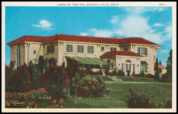 Tom Mix Home Beverly Hills California Postcard