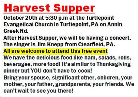 10-20 Harvest Supper, Turtlepoint
