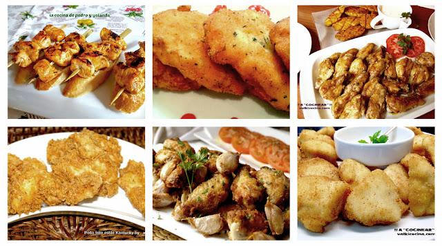 Recetas de pollo, nuggets, alitas, brochetas