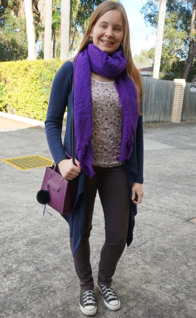 floral tank in witner with skinny jeans converse navy cardigan and purple scarf mini MAB bag | awayfromblue
