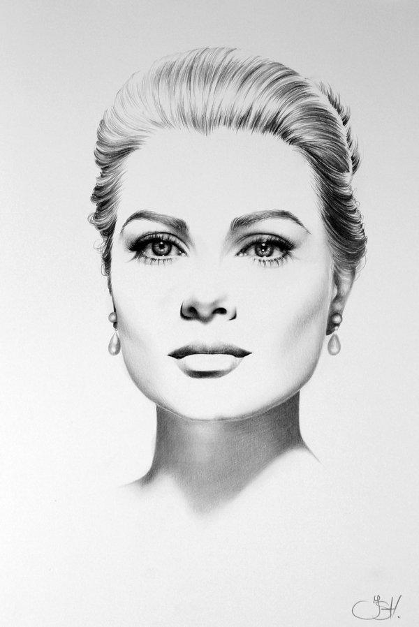رسم بالرصاص سهل للرسام غريس كيلي