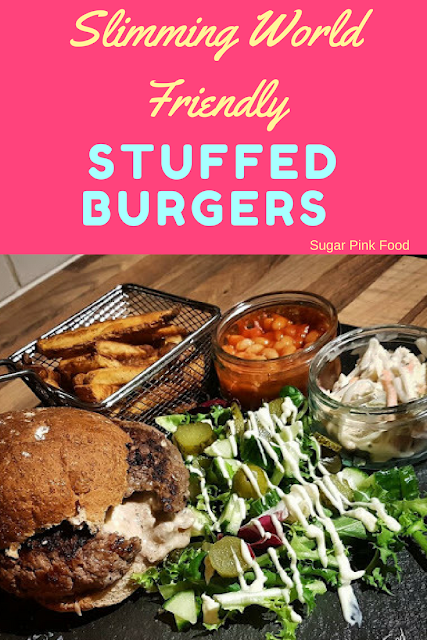 Cheese, Bacon and Onion Stuffed Burgers with BBQ Sauce recipe slimming world
