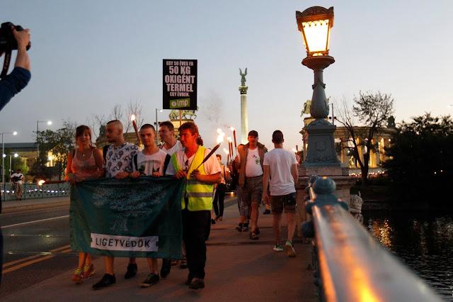 A Lehet Más a Politika fáklyás tüntetésének résztvevői vonulnak a Városligetben 2016. július 20-án. A demonstrációt a ligetvédők mellett és a Városliget megvédéséért hirdették meg. Délelőtt határozatképtelenség miatt berekesztették az Országgyűlés rendkívüli ülését, amelyen a városligeti beruházást lehetővé tevő Liget-törvény megsemmisítéséről szóló javaslat került volna napirendre.