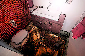A disorientating digitally altered photo looking down into an empty toilet cubicle.