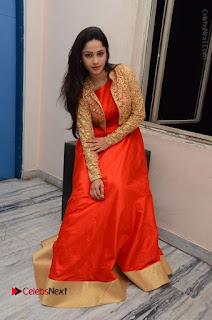 Telugu Actress Divya Nandini Stills in Orange Sleeveless Gown at Chennai Chaitrama Movie le Launch Event  0117.JPG