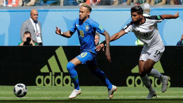 Brasil vs Costa Rika,  Skor Akhir 2-0, gol telat Coutinho memberikan Kemenangan Untuk Brazil