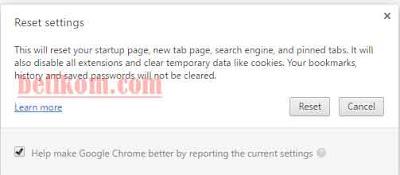 Reset Google Chrome
