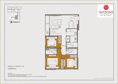 Mặt bằng căn hộ Seasons Avenue -  B110