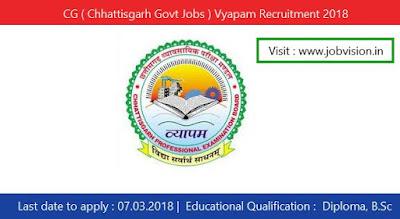 CG ( Chhattisgarh Govt Jobs ) Vyapam Recruitment 2018