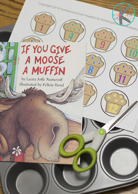 FREE If you Give a Mouse a Muffin counting activity - this free printable is such a fun math activity to go with our favorite Laura Numeroff book #counting #preschool #kindergarten #ifyougiveamouseamuffin #lauranumeroff #math #kindergartenworksheetsandgames