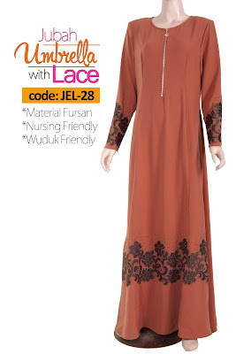Jubah Umbrella Lace JEL-28 Persian Brown Depan 4