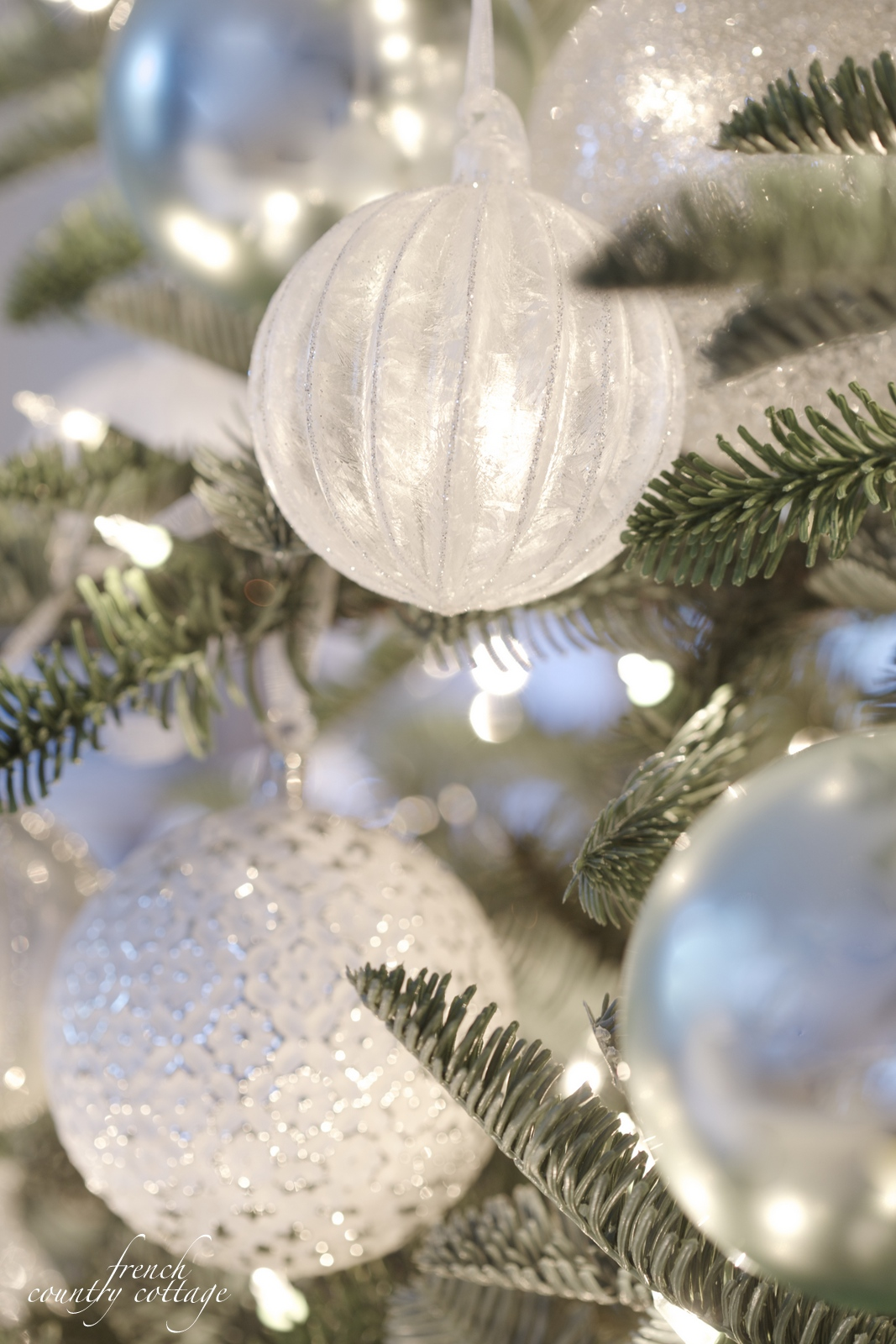 Decorative Ornaments For Living Room: White & French Blue Sparkle Christmas Tree