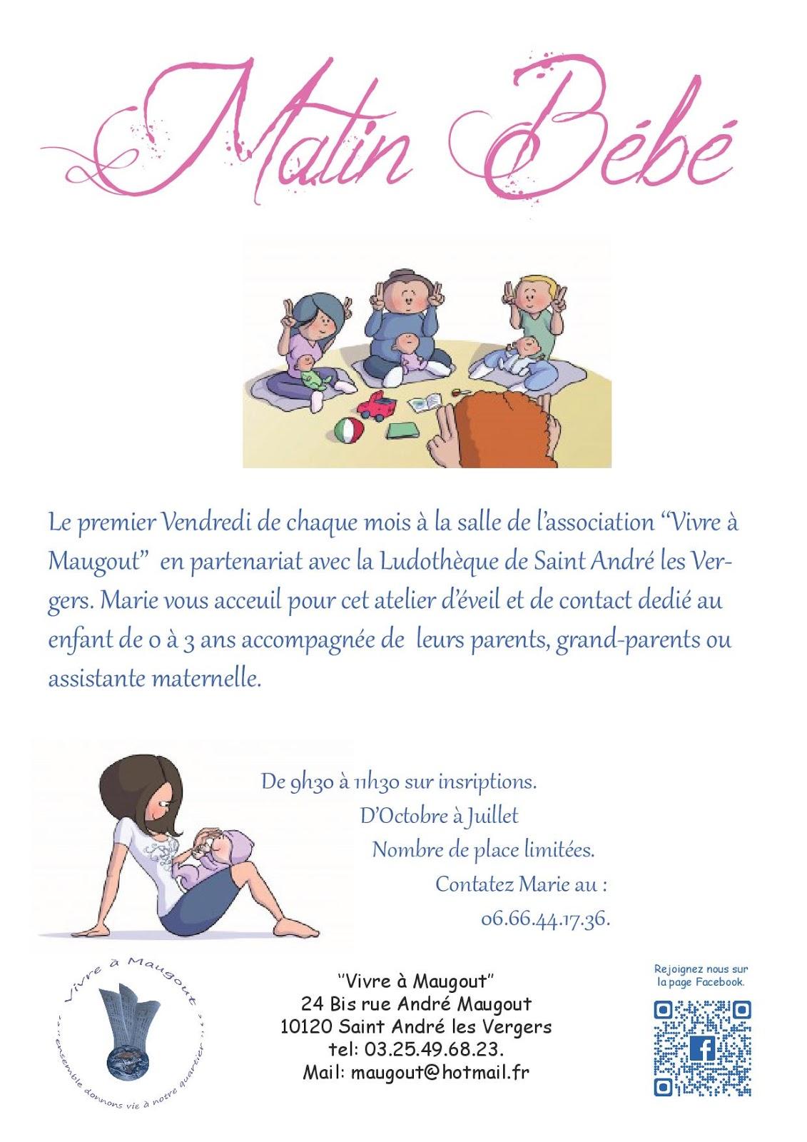 """Matin Bébé le 1er vendredi de chaque mois organisé dans la salle de l association """"Vivre  Maugout"""""""