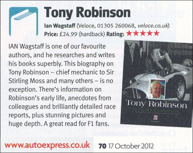 Veloce publishing automotive stuff 2012 5 star review auto express gave tony robinson the biography of a race mechanic by ian wagstaff in this weeks edition of the best selling magazine fandeluxe Image collections