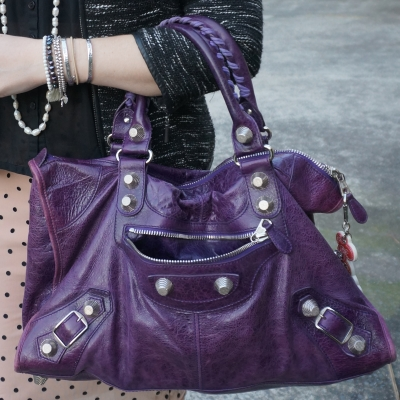 boucle and pearls polka dots, Balenciaga raisin purple 2009 giant silver G21 hardware work bag | AwayFromTheBlue