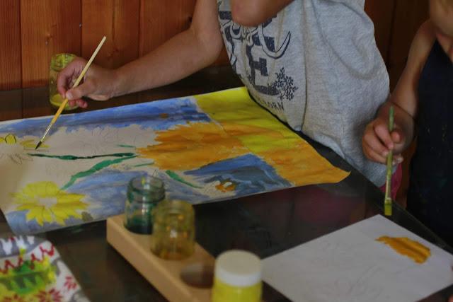 tableau les tournesols peindre à la manière de van gogh  unschooling charlotte mason art study