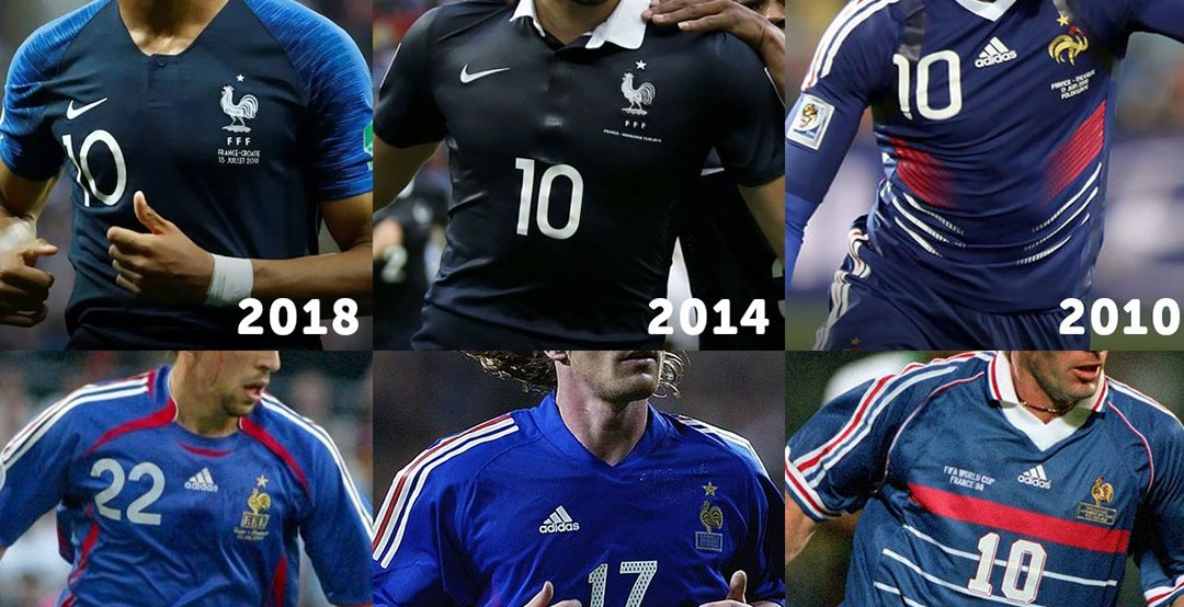 buy online 2e43f cfdf2 Full France Home Kit History | Adidas or Nike - Whose France ...