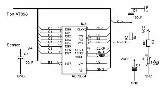 free circuit diagrams  microcontroller interface engineering with adc 0804