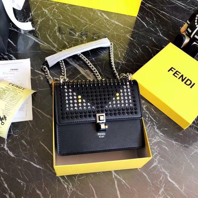 FENDI Kan I Studded Leather Bag Chain Sling Handbag 🎁 Gift Box. Order  Code  BOEZ032480818 a77bbb9d3b
