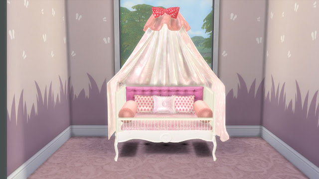 "Sims 4 Custom Content Download:I'm currently working on The Sims 4 cc (custom content) nursery furniture set and I decided to share it in parts as I'm assuming the whole set will take another month or two to finish.So,I'm sharing today the part-1 of my Sims 4 Sweet Dreams Nursery Furniture Set.This part includes total 6 items-baby crib,crib curtain,baby quilt and three types of pillows.This set is meant to be used with the ""Baby without Crib Mod""."