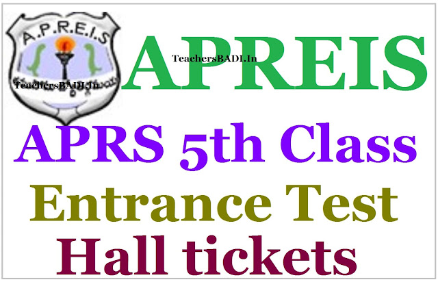 APRS, 5th class admission test,Hall tickets