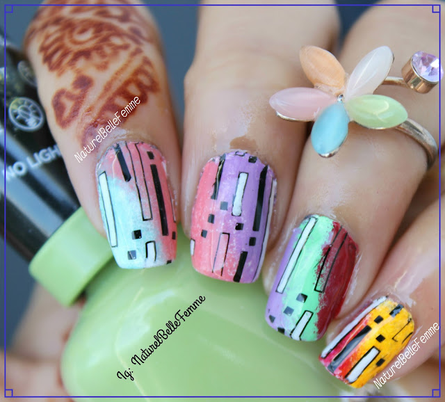colorful stripe manicure