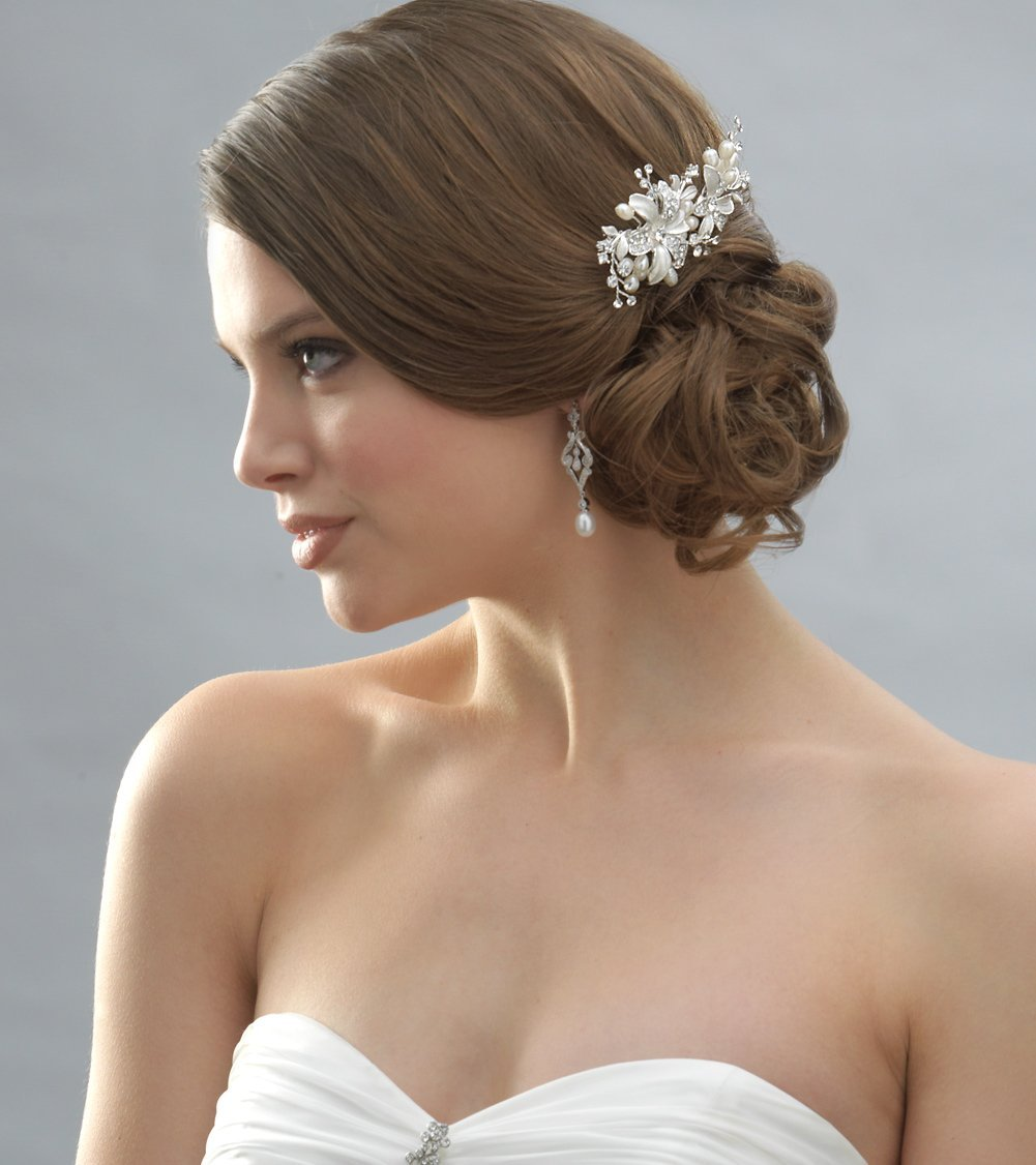Side Wedding Hairstyles: Side Bridal Comb Wedding Hair Piece With Flowers