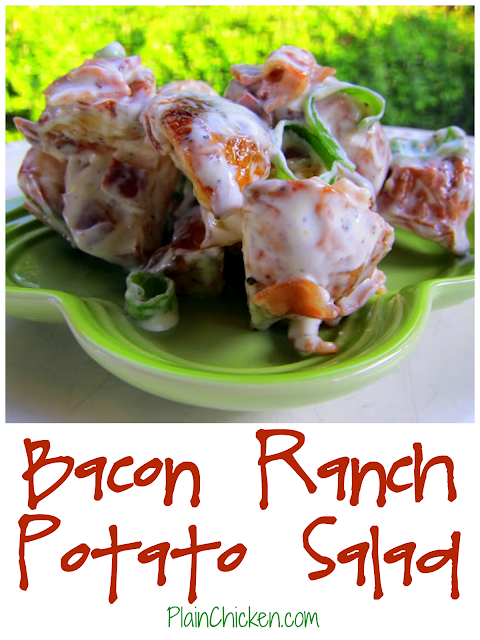 Bacon Ranch Potato Salad - roasted red potatoes tossed in Ranch dressing, bacon and green onions. Quick and easy side dish. My all-time favorite potato salad recipe! SOOO good!!!