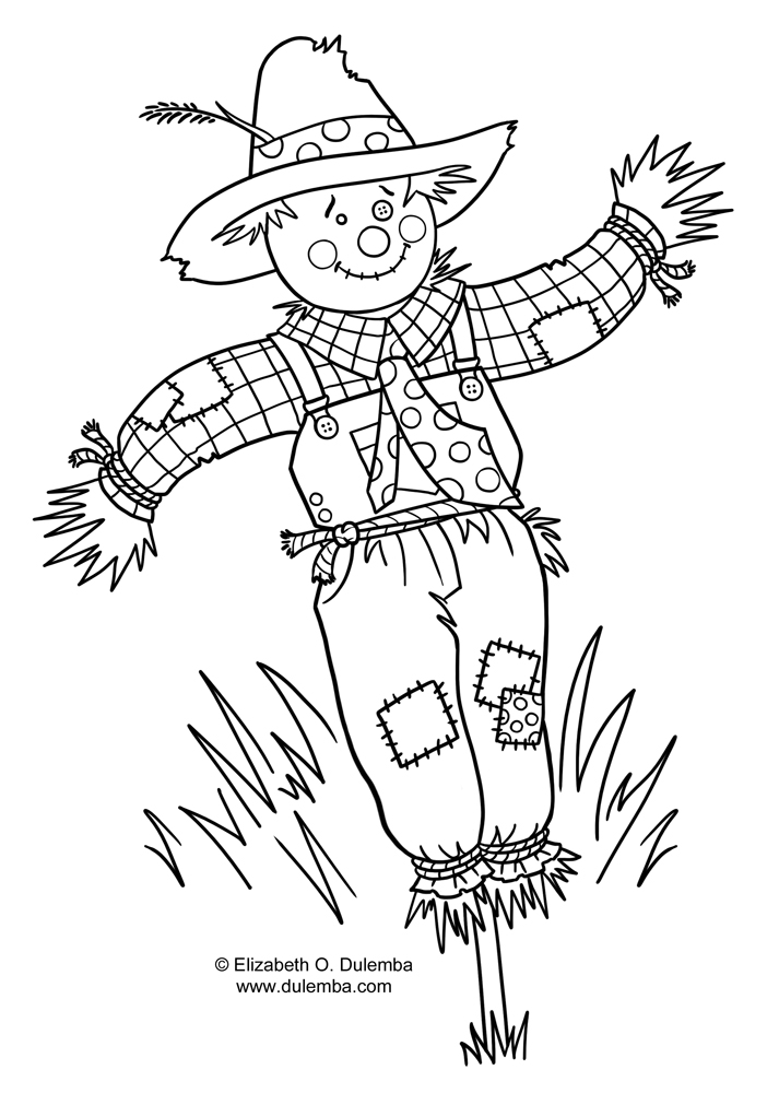Coloring pages scarecrow craft coloring pages for Printable scarecrow coloring pages