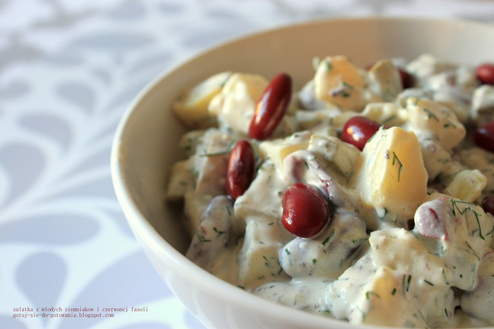 Gotuj Sie Do Gotowania Salatka Z Mlodych Ziemniakow I Czerwonej Fasoli