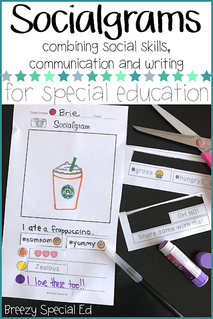 Have students express their thoughts on a topic using a familiar social media format, with a picture, short caption, hashtags...and classmates can even add comments! Teach writing and communication skills in a fun, relatable way for special education students!