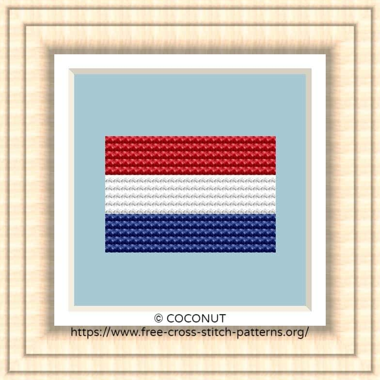 NATIONAL FLAG OF NETHERLANDS CROSS STITCH CHART