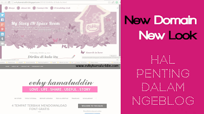 New Domain New Look & Hal Penting Dalam Nge-Blog Catatan Evhy