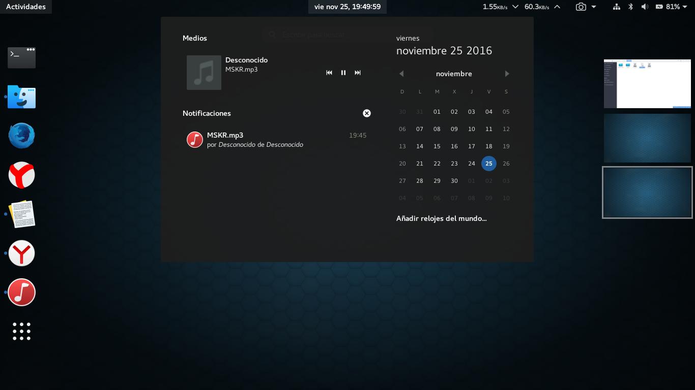 Mi personalización de Gnome 3 22 en Fedora 25 con Wayland
