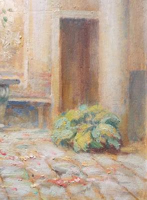 Interno di cortile - olio su tavola - veduta prospettica