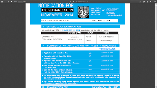 FCPS Part-1 November 2014: Fee schedule, Date and Timings
