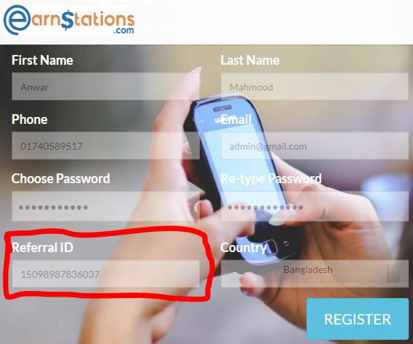 create Earn Stations account