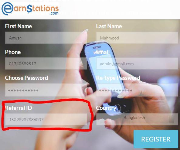 create Earn Stations account