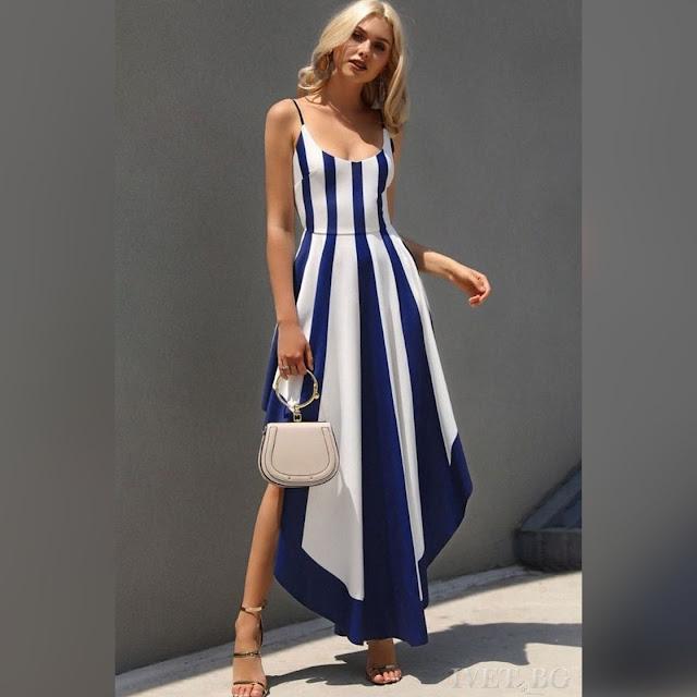 Μεσάτο ασύμμετρο άσπρο με μπλε φόρεμα EMANUELA BLUE