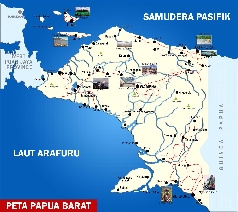 Peta Provinsi Papua Lengkap 28 Kabupaten 1 Kota Sejarah Negara