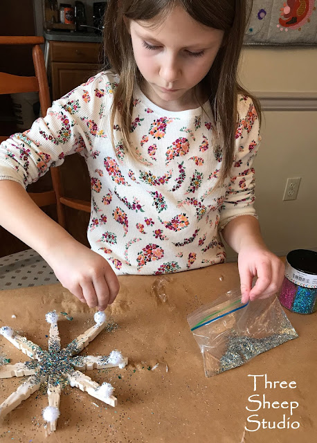 Homemade wooden snowflakes