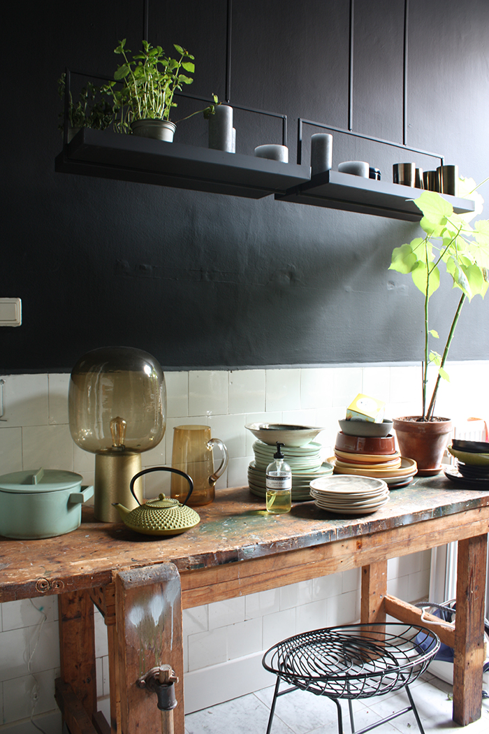 peinture  cuisine murs gris fonce